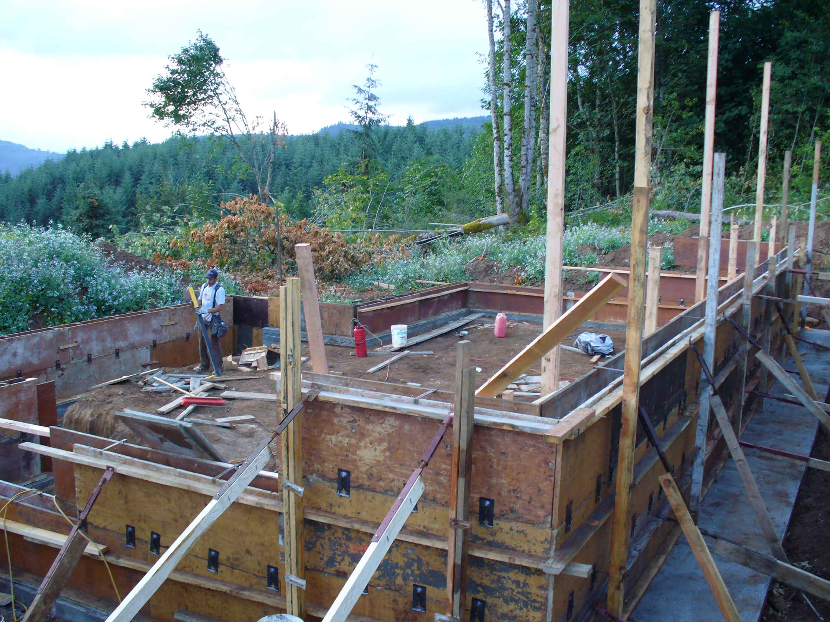 Custom foundation for large log cabin with basement