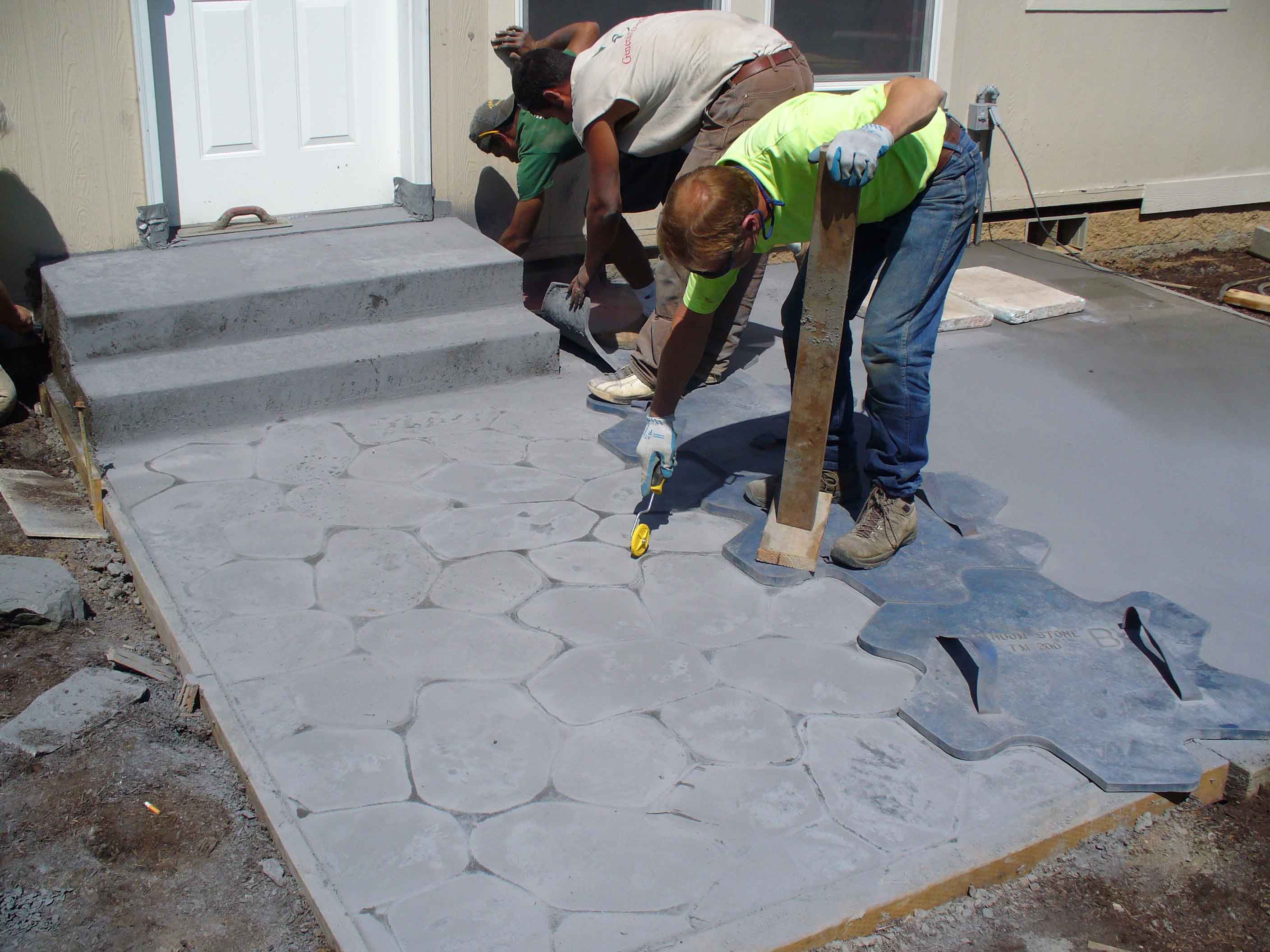 Pouring stamped concrete
