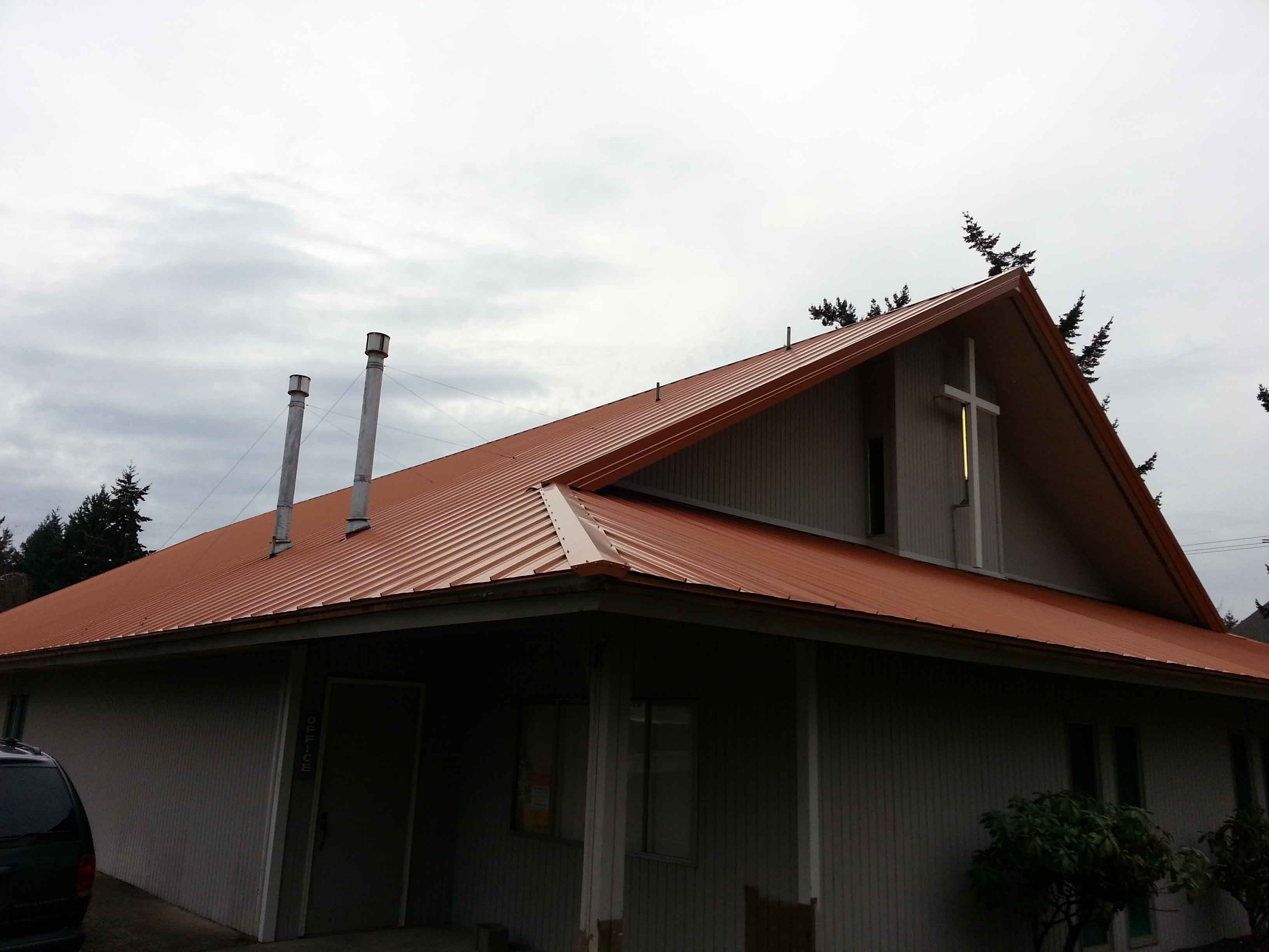 Church 1 Loc-Seam metal roof on cliff side roof