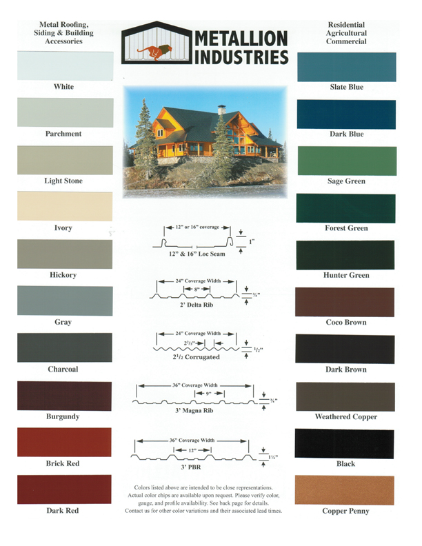 Metal Siding Color Charts Clackamas Oregon Locke Buildings